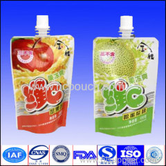 custom plastic juice stand up spout pouch