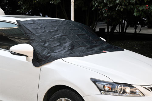 Black windscreen cover with magnets and weights.in black bag