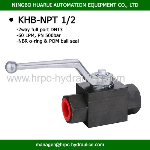NPT thread two way full port hydraulic oil ball valve 1/2 inch WOG 7250