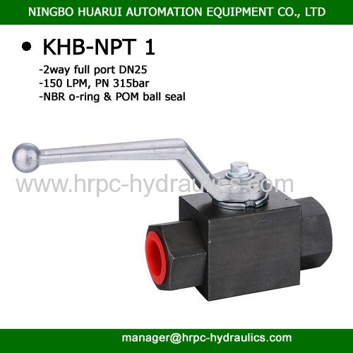NPT 1 inch thread 2 way full port dn25 high pressure same as hydac ball valve