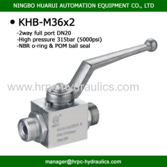BKH-M36X2 metric standard male thread 2 way high pressure ball valve manufacture