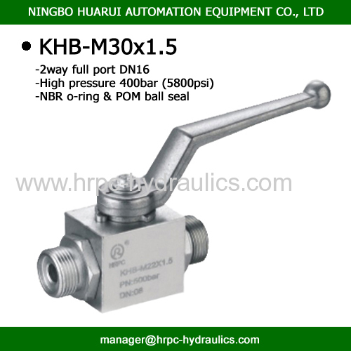 2 way full port external thread hydraulic ball valve dn16 wog7250