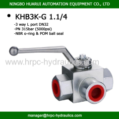 BK3 series hydraulic 3 way L port BSP 1 1/4 ''ball valves high pressure wog5000 carbon steel pipeline ball valves