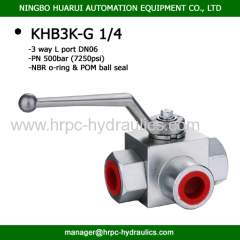hydraulic steel / stainless steel 3 way ball valves bsp female thread L port high pressure 7250psi