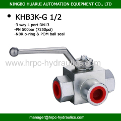 KHB3K high pressure hydraulic manual 3-way ball valve with clear ball valve picture