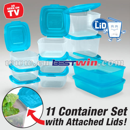11 container set with attached lid/food storage container with lid