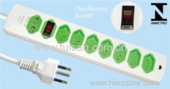 8 Outlets RJ45 Brazil Power Strip