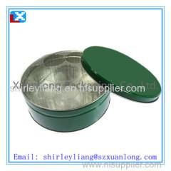 round metal candy tin box
