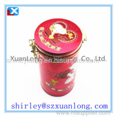 Round metal tea packaging box with plastic lids