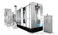 Automatic powder coat spraying booth