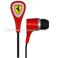 S100i Ferrari Scuderia Earphones Collection by Logic3 With 3 Button Remote and Mic Red