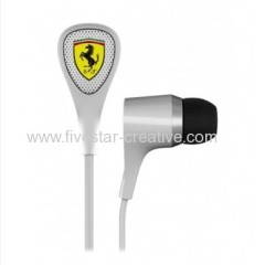 Ferrari by Logic3 S100i White Sports In Ear Earphones with three Button Mic Remote