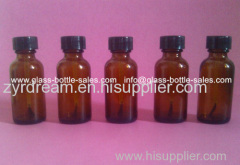 1oz Amber Boston Round Glass Bottle With Cap and Brush
