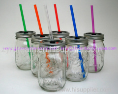 Glass Mason Jar With Straws