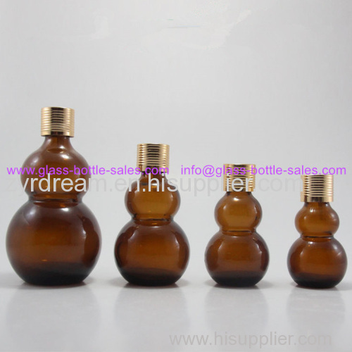 Double Calabash Amber Essential Oil Bottle With Cap