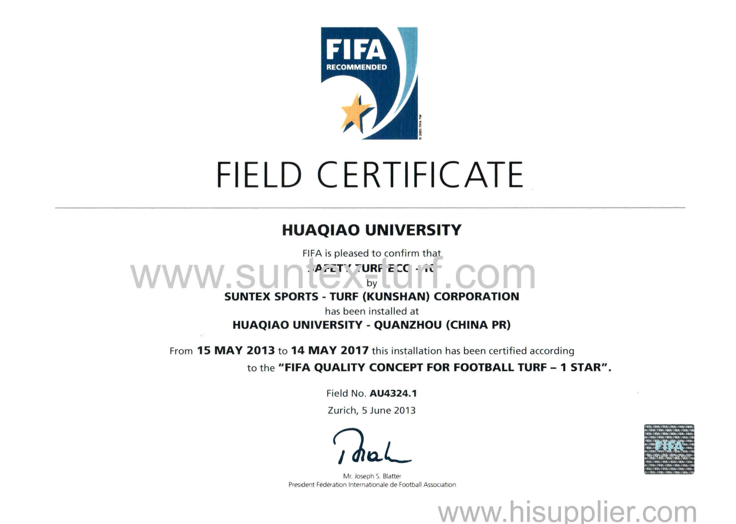 FIFA 1 star field certificate in Huaqiao University