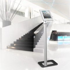Adjustable theft resistant tablet floor stand