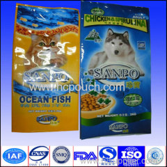 Customized printed aluminium foil dog food pouch with side gusset