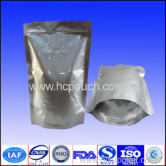 Zip lock aluminum foil stand up bag with tear notch