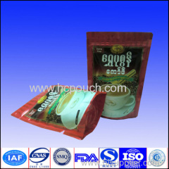 zip lock aluminum foil doypack coffee bag with valve