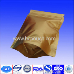 Aluminum foilstand up gold bag with zipper