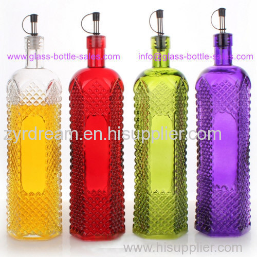 New Design Colored Olive Oil and Vinegar Glass Bottle