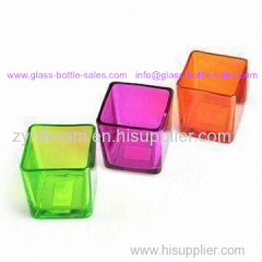 Square Colored Glass Candle Holder