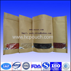 stand up food kraft paper pouch with window