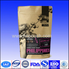 Stand up kraft paper pouch for tea packaging