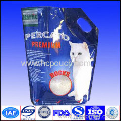 stand up pet food bag with handle
