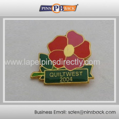 1 inch metal flowers lapel pin /soft enamel pin badge