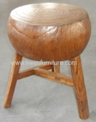 old reproduction elm wood stool