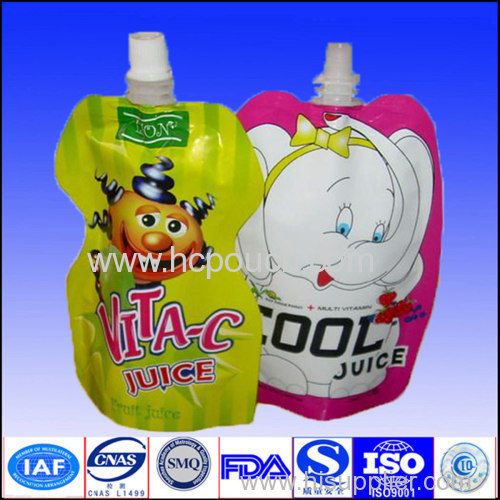 plastic stand up bag with spout