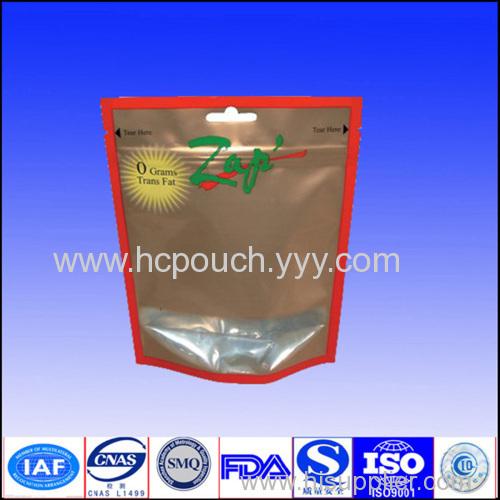 transparent stand up zipper pouch