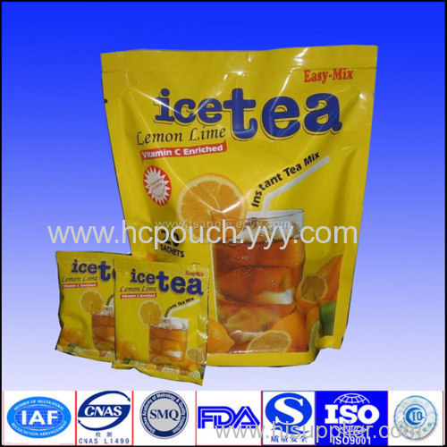 stand up tea bags with zipper