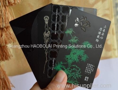 black matte metal card print