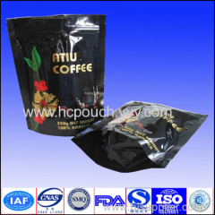 stand up zipper plastic bag for coffee