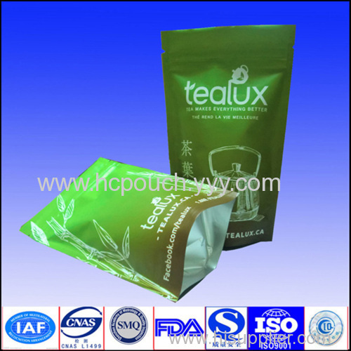 stand up lamination tea bag with zipper