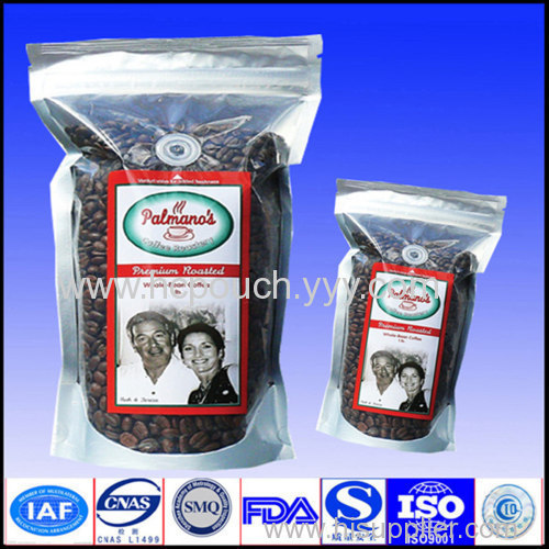 stand up coffee bean bags with valve