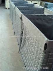 welded mesh collapsible containers for military base protection existing structures
