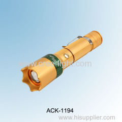 2014 New! Luxury Gold Color 5w CREE R2 High Power Aluminum LED Focus Mini Torch ACK-1194