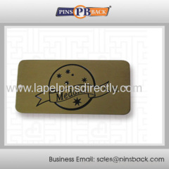 Die struck name tag pin badge