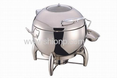 Round Hydraulic Induction Soup Station With Glass Lid
