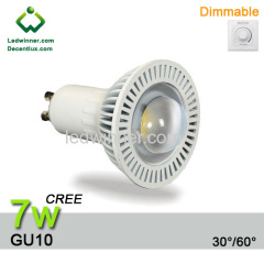 dimmable gu10 led bulbs CREE 7w