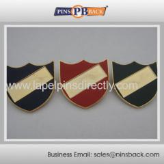 Cloisonne die struck safety pin badge