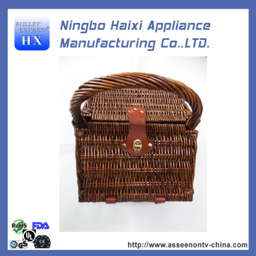 new and useful picnic basket with Household Essentials Woven Willow Square Shaped Fully Lined Service