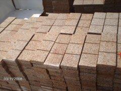 natural red granite cube stones