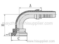 90° SAE Flange 3000 PSI ISO 12151-3 SAE J516 Hydraulic hose fitting 87391