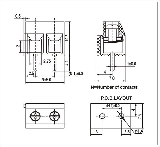 5 pole 5 0mm screw terminal block from china manufacturer