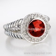 Sterling Silver Jewelry 7mm Garnet Petite Albion Ring